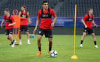 SHANGHAI, CHINA - JULY 09: Mohamed Elyounoussi during a Southampton FC training session, while on their pre season tour of China, on July 9, 2018 in Xuzhou, China. (Photo by Matt Watson/Southampton FC via Getty Images)