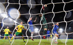 LONDON, ENGLAND - JANUARY 17:  Angus Gunn of Norwich City makes a save during The Emirates FA Cup Third Round Replay between Chelsea and Norwich City at Stamford Bridge on January 17, 2018 in London, England.  (Photo by Mike Hewitt/Getty Images)