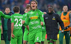 HANOVER, GERMANY - FEBRUARY 24: Jannik Vestergaard of Moenchengladbach celebrates after winning the Bundesliga match between Hannover 96 and Borussia Moenchengladbach at HDI-Arena on February 24, 2018 in Hanover, Germany. (Photo by Thomas Starke/Bongarts/Getty Images)