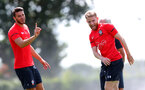 SOUTHAMPTON, ENGLAND - JULY 16: Wesley Hoedt(L) and Josh Sims during a Southampton FC training session at the Staplewood Campus on July 16, 2018 in Southampton, England. (Photo by Matt Watson/Southampton FC via Getty Images)