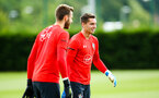 SOUTHAMPTON, ENGLAND - JULY 18: Harry Lewis (middle) during a Southampton FC training session at Staplewood Complex on July 18, 2018 in Southampton, England. (Photo by James Bridle - Southampton FC/Southampton FC via Getty Images)
