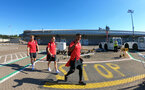 EVIAN-LES-BAINS, FRANCE - JULY 23: Players board the plane as Southampton FC take part in their first day of their pre-season training camp, on July 23, 2018 in Evian-les-Bains, France. (Photo by Matt Watson/Southampton FC via Getty Images)