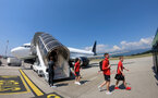 EVIAN-LES-BAINS, FRANCE - JULY 23: Players arrive in Geneva as Southampton FC take part in their first day of their pre-season training camp, on July 23, 2018 in Evian-les-Bains, France. (Photo by Matt Watson/Southampton FC via Getty Images)