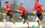 EVIAN-LES-BAINS, FRANCE - JULY 25: L to R, Sam Gallagher, James Ward-Prowse and Shane Long during day 3 of Southampton FC's pre-season training camp, on July 25, 2018 in Evian-les-Bains, France. (Photo by Matt Watson/Southampton FC via Getty Images)