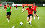 SOUTHAMPTON, ENGLAND - JULY 30: LtoR Jan Bednarek, Pierre-Emile Højbjerg, during a Southampton FC training sessions at Staplewood Complex on July 30, 2018 in Southampton, England. (Photo by James Bridle - Southampton FC/Southampton FC via Getty Images)