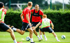 SOUTHAMPTON, ENGLAND - JULY 30: Oriol Romeu (middle) during a Southampton FC training sessions at Staplewood Complex on July 30, 2018 in Southampton, England. (Photo by James Bridle - Southampton FC/Southampton FC via Getty Images)