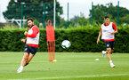 SOUTHAMPTON, ENGLAND - JULY 30: LtoR Charlie Austin, Mohamed Elyounoussi during a Southampton FC training sessions at Staplewood Complex on July 30, 2018 in Southampton, England. (Photo by James Bridle - Southampton FC/Southampton FC via Getty Images)
