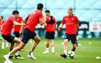 SOUTHAMPTON, ENGLAND - JULY 30: James Ward-Prowse (right) during a Southampton FC training sessions at Staplewood Complex on July 30, 2018 in Southampton, England. (Photo by James Bridle - Southampton FC/Southampton FC via Getty Images)