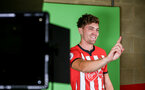 SOUTHAMPTON, ENGLAND - JULY 31: Sam Gallagher during a BTS view at a Southampton FC Photoshoot at St Mary's Stadium on July 31, 2018 in Southampton, England. (Photo by James Bridle - Southampton FC/Southampton FC via Getty Images)