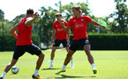 SOUTHAMPTON, ENGLAND - AUGUST 03: Jannik Vestergaard (middle) during a Southampton FC training session at Staplewood Complex on August 3, 2018 in Southampton, England. (Photo by James Bridle - Southampton FC/Southampton FC via Getty Images)