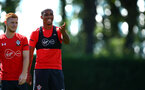 SOUTHAMPTON, ENGLAND - AUGUST 03: LtoR Harrison Reed, Mario Lemina during a Southampton FC training session at Staplewood Complex on August 3, 2018 in Southampton, England. (Photo by James Bridle - Southampton FC/Southampton FC via Getty Images)