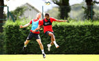 SOUTHAMPTON, ENGLAND - AUGUST 10: James Ward-Prowse(L) and Ryan Bertrand during a Southampton FC training session at the Staplewood Campus on August 10, 2018 in Southampton, England. (Photo by Matt Watson/Southampton FC via Getty Images)