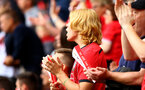 SOUTHAMPTON, ENGLAND - AUGUST 12: Southampton FC fans cheer as Stuart Armstrong is subsituted during the Premier League match between Southampton FC and Burnley FC at St Mary's Stadium on August 12, 2018 in Southampton, United Kingdom. (Photo by James Bridle - Southampton FC/Southampton FC via Getty Images)