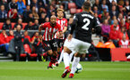 SOUTHAMPTON, ENGLAND - AUGUST 12: Nathan Redmond (left) of Southampton FC  during the Premier League match between Southampton FC and Burnley FC at St Mary's Stadium on August 12, 2018 in Southampton, United Kingdom. (Photo by James Bridle - Southampton FC/Southampton FC via Getty Images)