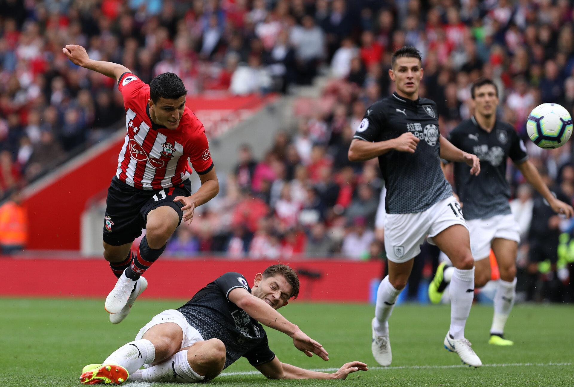 SOUTHAMPTON, ENGLAND - AUGUST 12: Mohamed Elyounoussi of Southampton during the Premier League match between Southampton FC and Burnley FC at St Mary's Stadium on August 12, 2018 in Southampton, United Kingdom. (Photo by Chris Moorhouse/Southampton FC via Getty Images)