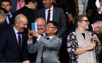 SOUTHAMPTON, ENGLAND - AUGUST 12: From left, Ralph Krueger, Les Reed, Mr Gao and Katharina Liebherr of Southampton during the Premier League match between Southampton FC and Burnley FC at St Mary's Stadium on August 12, 2018 in Southampton, United Kingdom. (Photo by Chris Moorhouse/Southampton FC via Getty Images)