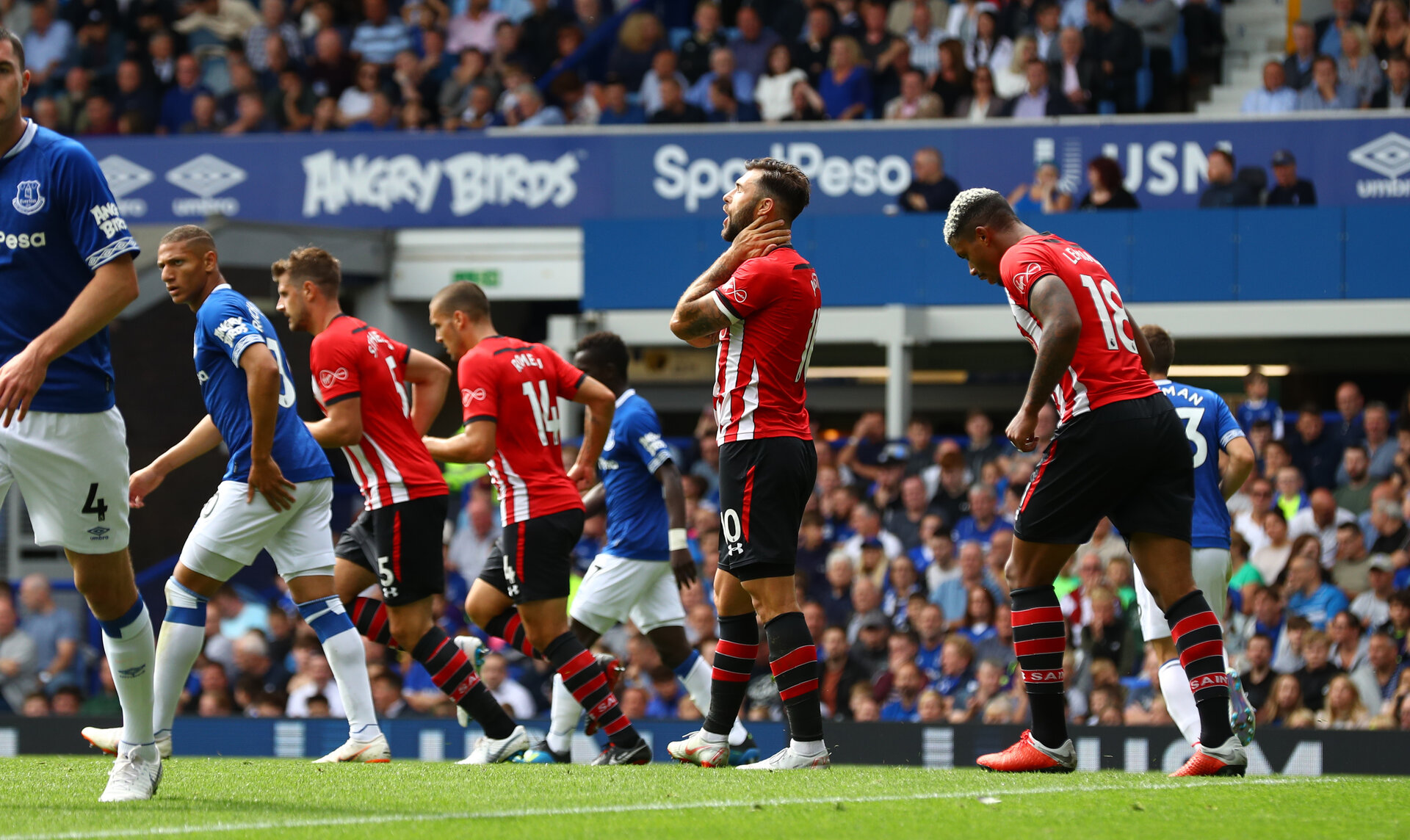 LIVERPOOL, ENGLAND - AUGUST 18: Charlie Austin of Southampton during the Premier League match between Everton FC and Southampton FC at Goodison Park on August 18, 2018 in Liverpool, United Kingdom. (Photo by Matt Watson/Southampton FC via Getty Images)