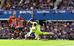 LIVERPOOL, ENGLAND - AUGUST 18: Danny Ings of Southampton is denied by Jordan Pickford during the Premier League match between Everton FC and Southampton FC at Goodison Park on August 18, 2018 in Liverpool, United Kingdom. (Photo by Matt Watson/Southampton FC via Getty Images)