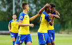 LONDON, ENGLAND - AUGUST 20: Marcus Barnes celebrates (right) after scoring during an U23 Pl2 match between Southampton FC and Stoke City Clayton Training Ground on August 20, 2018 in London, England. (Photo by James Bridle - Southampton FC/Southampton FC via Getty Images)