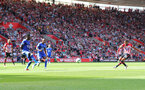SOUTHAMPTON, ENGLAND - AUGUST 25: Ryan Bertrand of Southampton puts his team 1-0 up during the Premier League match between Southampton FC and Leicester City at St Mary's Stadium on August 25, 2018 in Southampton, United Kingdom. (Photo by Matt Watson/Southampton FC via Getty Images)