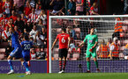 SOUTHAMPTON, ENGLAND - AUGUST 25: Alex McCarthy of Southampton as Harry Maguire scores to make it 2-1 to Leicester during the Premier League match between Southampton FC and Leicester City at St Mary's Stadium on August 25, 2018 in Southampton, United Kingdom. (Photo by Matt Watson/Southampton FC via Getty Images)
