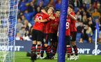 BRIGHTON, ENGLAND - AUGUST 28: players of Southampton vcelebrate after Charlie Austin scores during the Carabao Cup Second Round match between Brighton & Hove Albion and Southampton at American Express Community Stadium on August 28, 2018 in Brighton, England. (Photo by Matt Watson/Southampton FC via Getty Images)