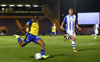 COLCHESTER, ENGLAND - SEPTEMBER 04: Michael Obafemi (left) during the Check a Trade Cup match between Colchester United vs Southampton FC at Jobserve Community Stadium on September 04, 2018 in Colchester, England. (Photo by James Bridle - Southampton FC/Southampton FC via Getty Images)