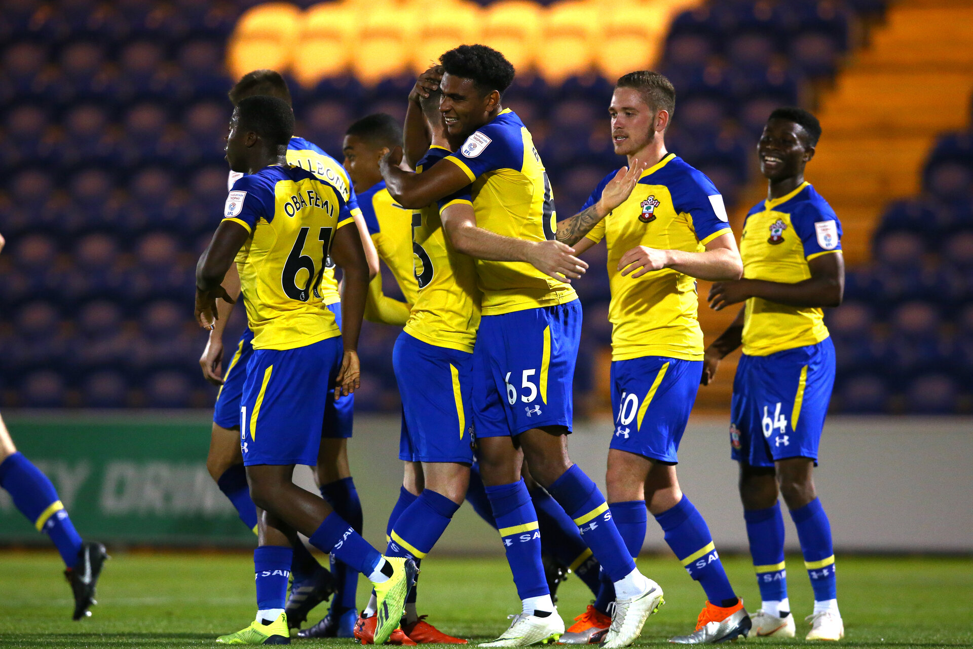 COLCHESTER, ENGLAND - SEPTEMBER 04: Marcus Barnes scores for Southampton FC  (middle) during the Check a Trade Cup match between Colchester United vs Southampton FC at Jobserve Community Stadium on September 04, 2018 in Colchester, England. (Photo by James Bridle - Southampton FC/Southampton FC via Getty Images)