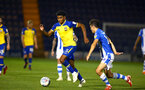 COLCHESTER, ENGLAND - SEPTEMBER 04: Marcus Barnes (left) during the Check a Trade Cup match between Colchester United vs Southampton FC at Jobserve Community Stadium on September 04, 2018 in Colchester, England. (Photo by James Bridle - Southampton FC/Southampton FC via Getty Images)