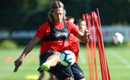 Jannik Vestergaard during a Southampton FC training session, at the Staplewood Campus, Southampton, 6th September 2018