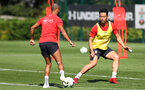 SOUTHAMPTON, ENGLAND - SEPTEMBER 13: Maya Yoshida(R) during a Southampton FC training session at the Staplewood Campus on September 13, 2018 in Southampton, England. (Photo by Matt Watson/Southampton FC via Getty Images)