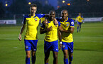 NEWCASTLE, ENGLAND - SEPTEMBER 14: LtoR Will Smallbone, Michael Obafemi, Tyreke Johnson celebrate after Michael obafemi scores during the U23's PL2 match between Newcastle United and Southampton FC pictured at Northumberland County FA ground on September 14, 2018 in Southampton, England. (Photo by James Bridle - Southampton FC/Southampton FC via Getty Images)