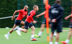 SOUTHAMPTON, ENGLAND - SEPTEMBER 20: Nathan Redmond(L) during a Southampton FC training session at Staplewood Complex on September 20, 2018 in Southampton, England. (Photo by Matt Watson/Southampton FC via Getty Images)