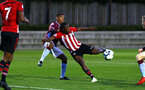 SOUTHAMPTON, ENGLAND - SEPTEMBER 21: Michael Obafemi (middle) during the PL2 match between Southampton FC and Aston Villa FC at Staplewood Training Ground on September 21, 2018 in Southampton, United Kingdom. (Photo by James Bridle - Southampton FC/Southampton FC via Getty Images)