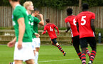 SOUTHAMPTON, ENGLAND - SEPTEMBER 22: Dan Bartlett scores (middle) during the U18 Premier League match between Southampton FC and Brighton Hove Albion at Staplewood Training Ground on September 22, 2018 in Southampton, United Kingdom. (Photo by James Bridle - Southampton FC/Southampton FC via Getty Images)