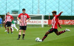 SOUTHAMPTON, ENGLAND - SEPTEMBER 22: Southampton FC Free kick taken by Enzo Robise (right) during the U18 Premier League match between Southampton FC and Brighton Hove Albion at Staplewood Training Ground on September 22, 2018 in Southampton, United Kingdom. (Photo by James Bridle - Southampton FC/Southampton FC via Getty Images)