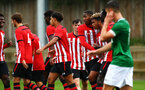 SOUTHAMPTON, ENGLAND - SEPTEMBER 22: Southampton FC players celebrate after Dan Bartlett scores during the U18 Premier League match between Southampton FC and Brighton Hove Albion at Staplewood Training Ground on September 22, 2018 in Southampton, United Kingdom. (Photo by James Bridle - Southampton FC/Southampton FC via Getty Images)