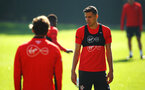 SOUTHAMPTON, ENGLAND - SEPTEMBER 27: Jan Bednarek (right) during a Southampton FC training session at Staplewood Complex on September 27, 2018 in Southampton, England. (Photo by James Bridle - Southampton FC/Southampton FC via Getty Images)
