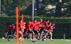 SOUTHAMPTON, ENGLAND - SEPTEMBER 27: players sprint during a Southampton FC training session at the Staplewood Campus on September 27, 2018 in Southampton, England. (Photo by Matt Watson/Southampton FC via Getty Images)