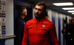 LIVERPOOL, ENGLAND - OCTOBER 02: Charlie Austin of Southampton ahead of the Carabao Cup Third Round match between Everton and Southampton at Goodison Park on October 2nd, 2018 in Liverpool, England. (Photo by Matt Watson/Southampton FC via Getty Images)