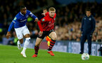 LIVERPOOL, ENGLAND - OCTOBER 02: Matt Targett(R) of Southampton during the Carabao Cup Third Round match between Everton and Southampton at Goodison Park on October 2nd, 2018 in Liverpool, England. (Photo by Matt Watson/Southampton FC via Getty Images)