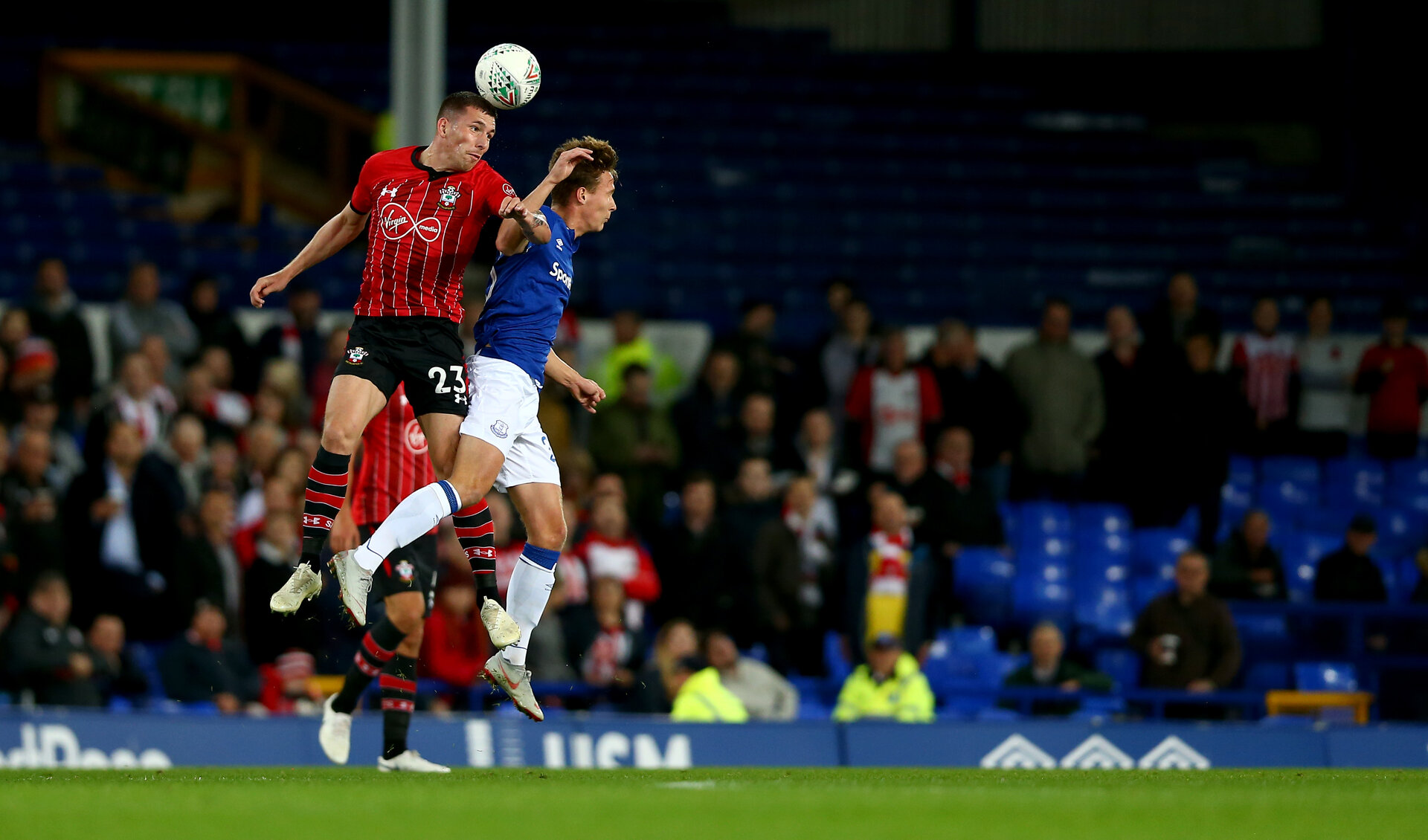 LIVERPOOL, ENGLAND - OCTOBER 02: Pierre-Emile Hojbjerg of Southampton during the Carabao Cup Third Round match between Everton and Southampton at Goodison Park on October 2nd, 2018 in Liverpool, England. (Photo by Matt Watson/Southampton FC via Getty Images)