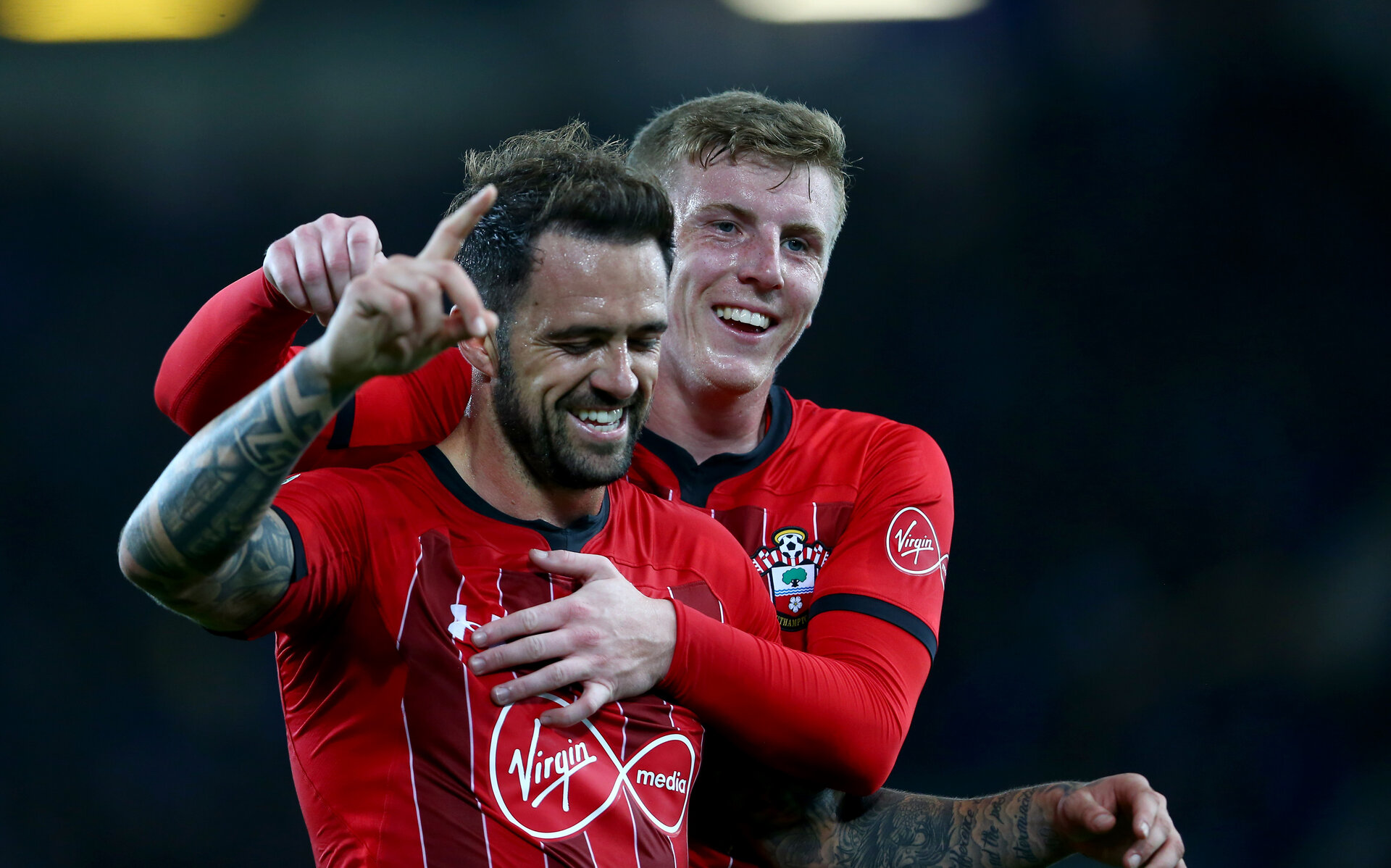 LIVERPOOL, ENGLAND - OCTOBER 02: Danny Ings(L) and Matt Targett of Southampton during the Carabao Cup Third Round match between Everton and Southampton at Goodison Park on October 2nd, 2018 in Liverpool, England. (Photo by Matt Watson/Southampton FC via Getty Images)