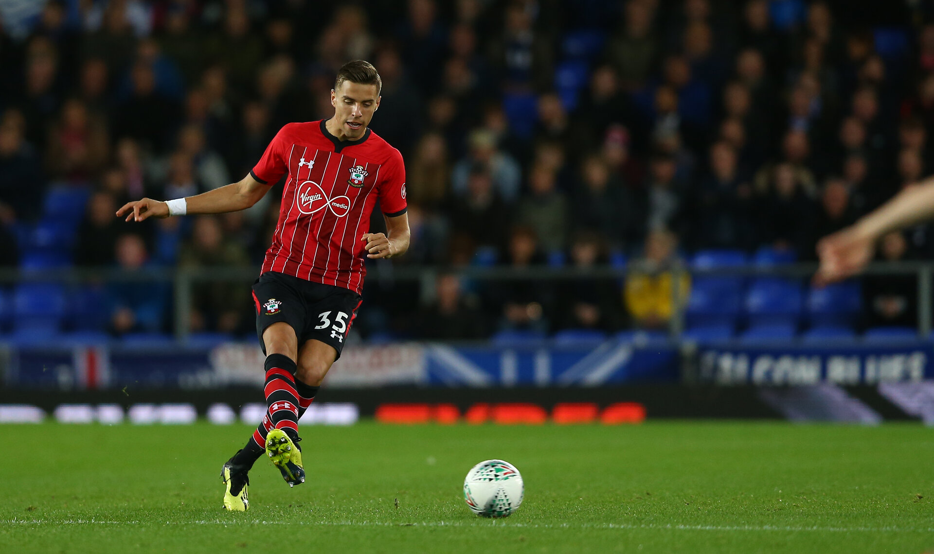LIVERPOOL, ENGLAND - OCTOBER 02: Jan Bednarek of Southampton during the Carabao Cup Third Round match between Everton and Southampton at Goodison Park on October 2nd, 2018 in Liverpool, England. (Photo by Matt Watson/Southampton FC via Getty Images)