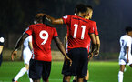 SOUTHAMPTON, ENGLAND - OCTOBER 05: Michael Obafemi (left) celebrates with team mates Macrus Barnes (right) after scoring during the PL2 match between Southampton FC and Leeds United FC U23s pictured at Staplewood Complex on October 5, 2018 in Southampton, England. (Photo by James Bridle - Southampton FC/Southampton FC via Getty Images)