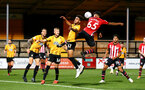 CAMBRIDGE, ENGLAND - OCTOBER 09: Maercus Barnes (middle) of Southampton FC during the U21s Checkatade Trophy between Cambridge United and Southampton FC pictured at Abbey Stadium on October 9, 2018 in Cambridge, England. (Photo by James Bridle - Southampton FC/Southampton FC via Getty Images)