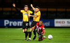 CAMBRIDGE, ENGLAND - OCTOBER 09: Tyreke Johnson goes down for Southampton FC (right) during the U21s Checkatade Trophy between Cambridge United and Southampton FC pictured at Abbey Stadium on October 9, 2018 in Cambridge, England. (Photo by James Bridle - Southampton FC/Southampton FC via Getty Images)