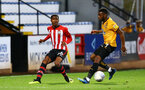 CAMBRIDGE, ENGLAND - OCTOBER 09: Kayne Ramsay (left) for Southampton FC during the U21s Checkatade Trophy between Cambridge United and Southampton FC pictured at Abbey Stadium on October 9, 2018 in Cambridge, England. (Photo by James Bridle - Southampton FC/Southampton FC via Getty Images)