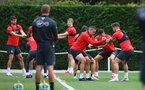 SOUTHAMPTON, ENGLAND - OCTOBER 11: players warm up during a Southampton FC training session at the Staplewood Campus on October 11, 2018 in Southampton, England. (Photo by Matt Watson/Southampton FC via Getty Images)