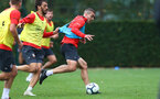 SOUTHAMPTON, ENGLAND - OCTOBER 11: Oriol Romeu(R) and Manolo Gabbiadini during a Southampton FC training session at the Staplewood Campus on October 11, 2018 in Southampton, England. (Photo by Matt Watson/Southampton FC via Getty Images)